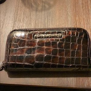 Brown Croc Large Brighton Zip Wallet